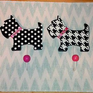 2 adorable dog wall hooks black & white& pink